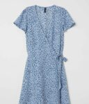 Patterned wrap dress front view
